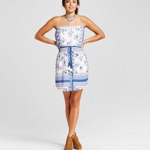Blue & white strapless dress with tassel